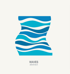 Water wave logo abstract design cosmetics surf vector