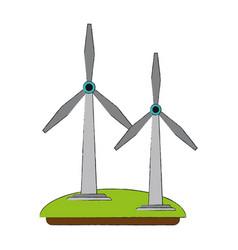 Wind turbines green energy vector