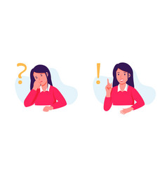 Young woman character student thinking vector