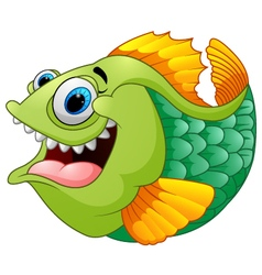 Cartoon of green piranha vector