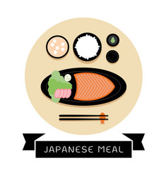 japanese meal with rice and fresh salmon vector image