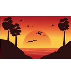 On the river dinosaur pterodactyl scenery vector image vector image