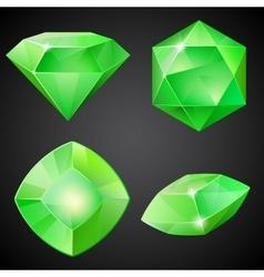 Set of green gemstones vector image vector image