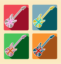 british guitar flat icons with long shadow vector image vector image