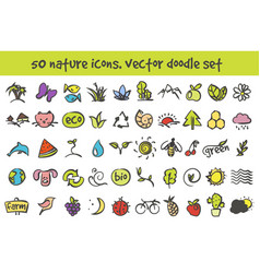 doodle nature icons set vector image vector image