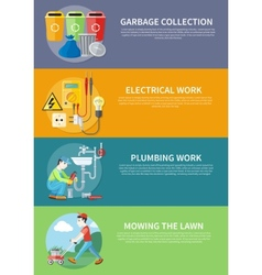 Electrical Plumbing Work and Mowing Lawn vector image vector image