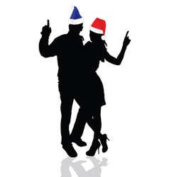 girl and man with christmas hat vector image