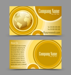 Globe theme business card vector image
