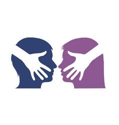 Hand shake between man and woman vector