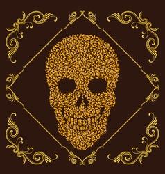 Leaf and Ornamental Skull vector image vector image