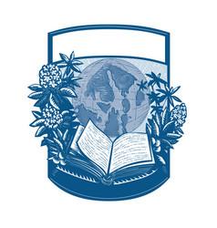rhododendron orcas island book woodcut vector image vector image