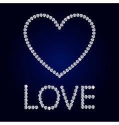 shiny diamond heart Valentine s Day Card vector image