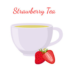 strawberry tea in cup with berries vector image vector image
