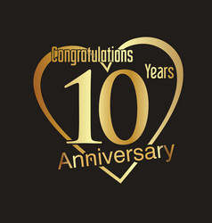 anniversary golden badge 10 years collection 3 vector image vector image