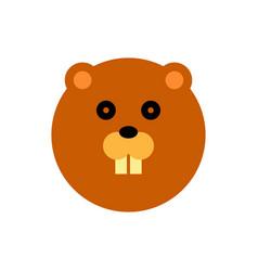 beaver cartoon animal head vector image vector image
