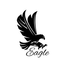 Eagle hawk black heraldic icon vector image vector image
