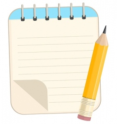 notebook and pencil vector image