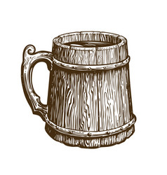 hand-drawn vintage wooden mug of craft beer ale vector image vector image