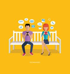 internet addiction disorder technology vector image