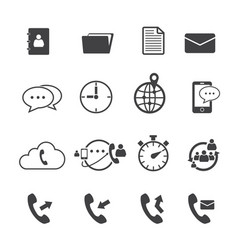 phone call and mail icon set vector image