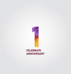 1 year anniversary elegant rainbow template design vector