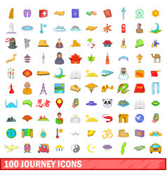 100 journey icons set cartoon style vector