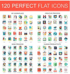 120 complex flat icons concept symbols of vector image