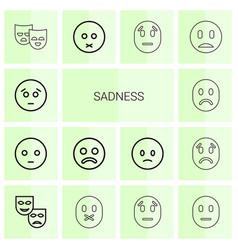 14 sadness icons vector image