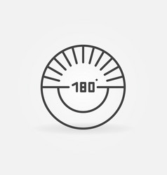 180 degrees angle outline circular icon vector