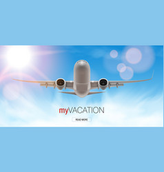 3d airplane take off flying above clouds vector image