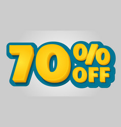 70 off discount banner special offer sale tag in vector image