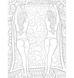 adult coloring bookpage two girls on abstract vector image