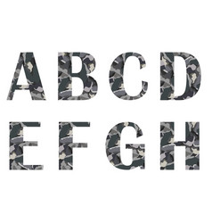 Alphabet letters a to h in stone vector
