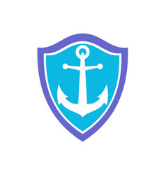 anchor ocean protection logo icon vector image