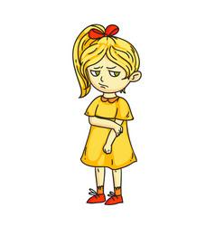 Angry sad mad moody cartoon child character vector