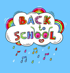 back to school hand drawn words against the vector image