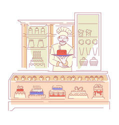 Baker in bakery shop confectionery cakes and vector