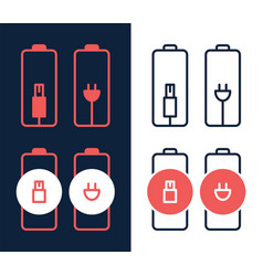 battery charger electric plug icon on white vector image