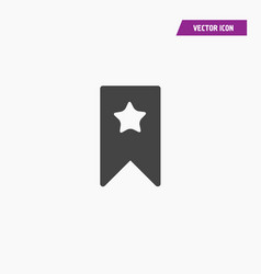 Black bookmark icon with white star vector