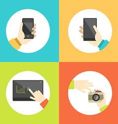 Business hands touch digital devices e-commerce vector image