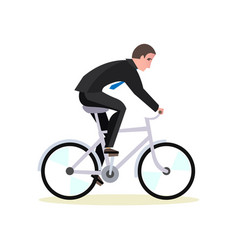 businessman is riding a bicycle to work vector image