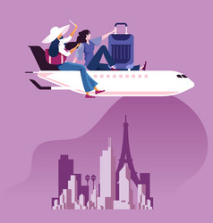 businesswoman sit on top airplane to travel vector image