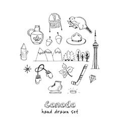 Canada hand drawn icon doodle set vector image