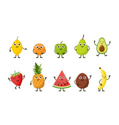 cartoon funny fruits vector image