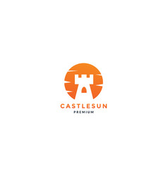 castle tower with sunset colorful logo icon vector image