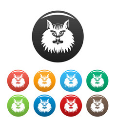 cat head icons set color vector image