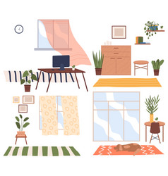 Cozy place room near window with chairs vector