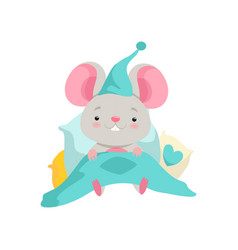 Cute mouse in a nightcap lying in bed funny vector