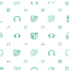 earphones icons pattern seamless white background vector image