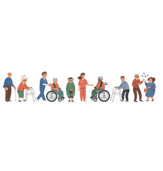 elderly people and social workers grandparents vector image